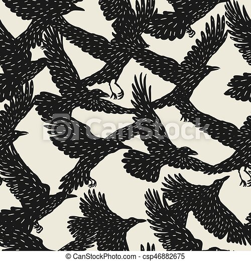 Seamless pattern with black flying ravens. Hand drawn inky birds - csp46882675