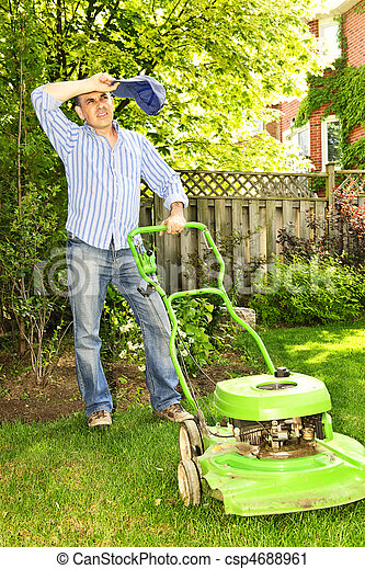Man mowing lawn - csp4688961