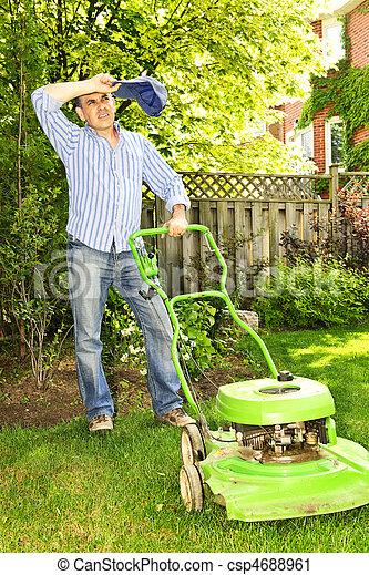 Man mowing lawn - csp4688961