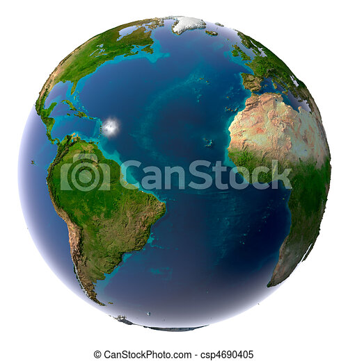 Realistic Planet Earth with natural water - csp4690405