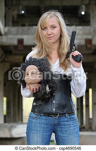 Woman bounty hunter - csp4690546