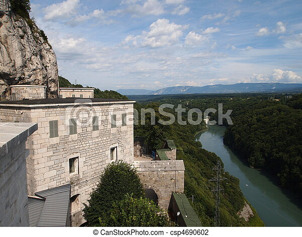 View from the french Fort of the Ecluse on the rivers and forests, France, The Alps - csp4690602