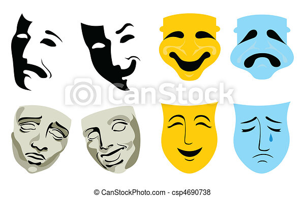 Face packs, pleasure and grief. A vector illustration - csp4690738