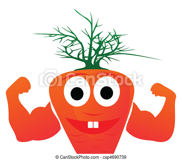 Healthy orange carrots show force. A vector illustration - csp4690739