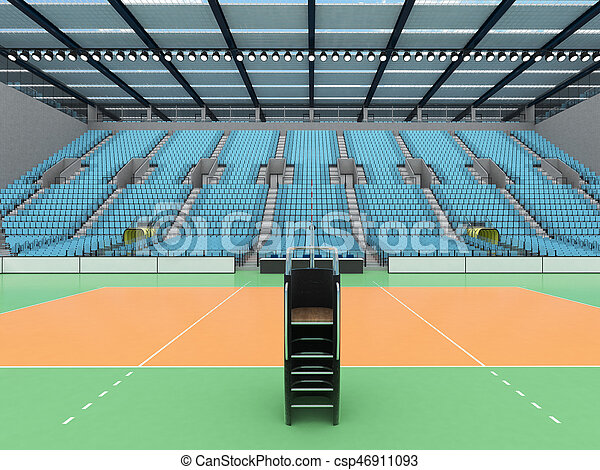 3D render of beautiful sports arena for volleyball with floodlights and sky blue seats and VIP boxes for ten thousand people