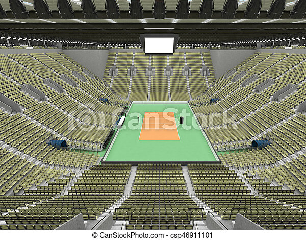 3D render of beautiful sports arena for volleyball with floodlights and olive green seats and VIP boxes for ten thousand people