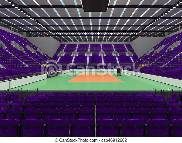3D render of beautiful sports arena for volleyball with floodlights and purple seats and VIP boxes for ten thousand people