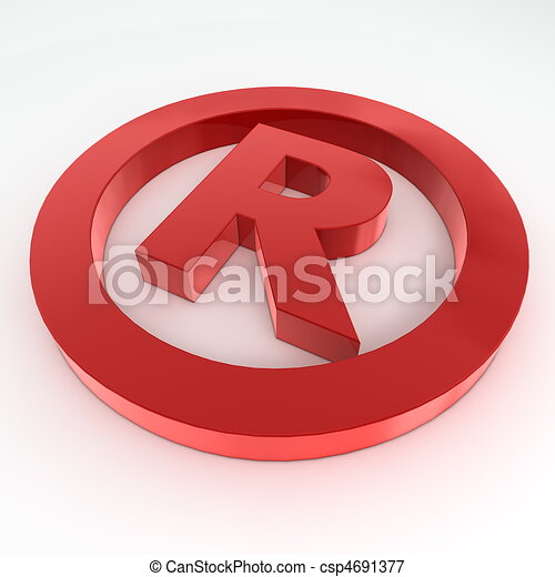 Red Shiny Registered Trademark Symbol - csp4691377