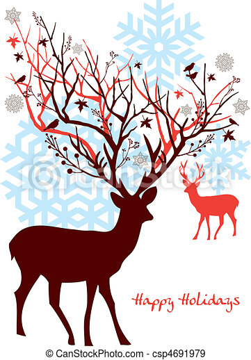 Christmas deer with tree, vector - csp4691979