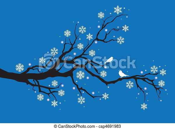 winter tree branch, vector - csp4691983