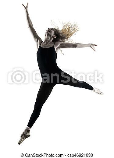 Ballerina dancer dancing woman  isolated silhouette - csp46921030