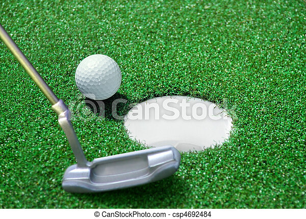 golf ball on green course - csp4692484