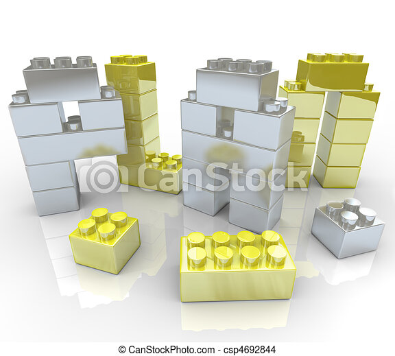 Building a Plan - Toy Blocks - csp4692844