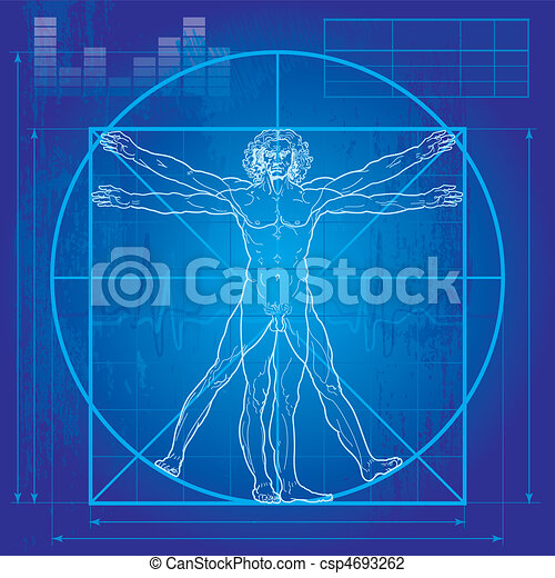 The Vitruvian man (Blueprint version) - csp4693262