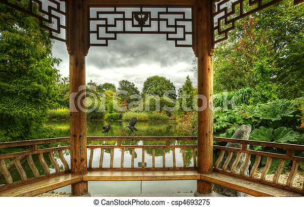 Superbly detailed pagoda in lush green gardens - csp4693275