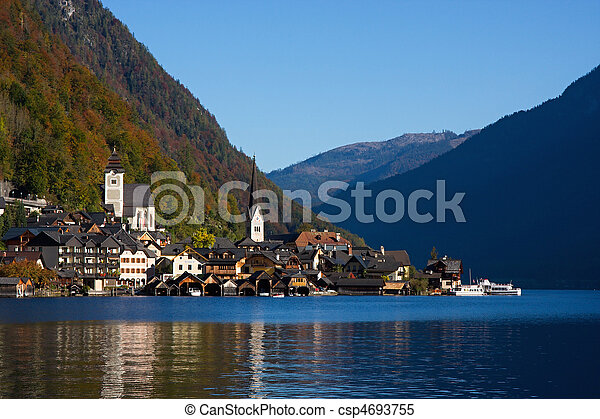 Hallstatt, small town in Alp - csp4693755