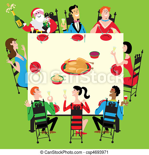 Holiday dinner with Santa - csp4693971