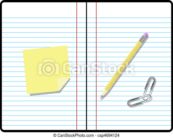 Composition Notebook with Pencil, Paper and Sticky Note with Room for your Text - csp4694124
