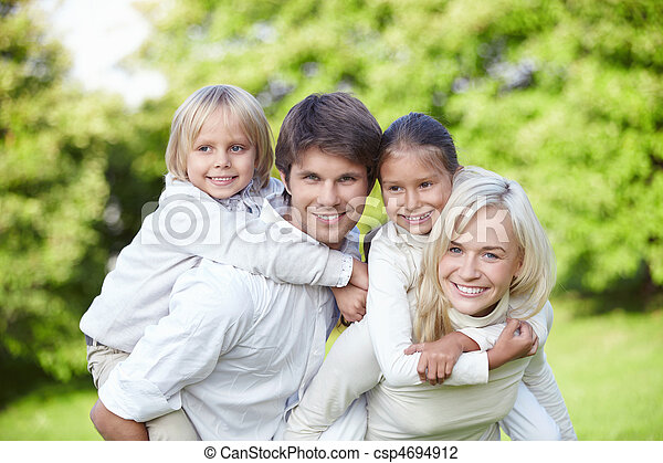Young families with children outdoors - csp4694912