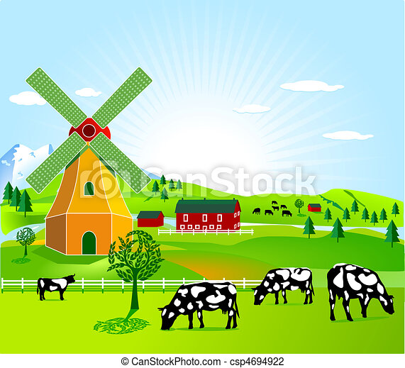 Stock Illustration - wind mill and agriculture - stock illustration ...