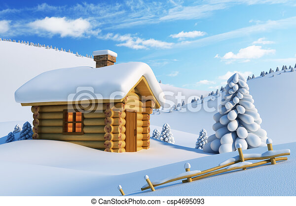 house in snow mountain  - csp4695093