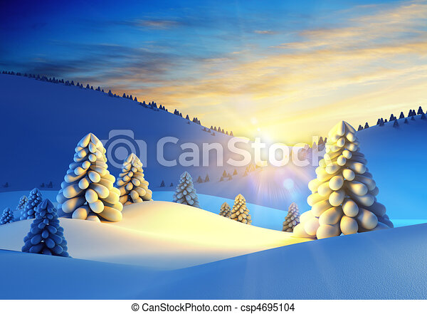 winter landscape with fir trees - csp4695104