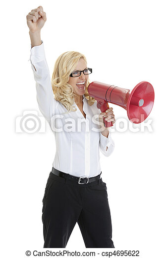 Happy young business woman making an announcement into megaphone on white background - csp4695622