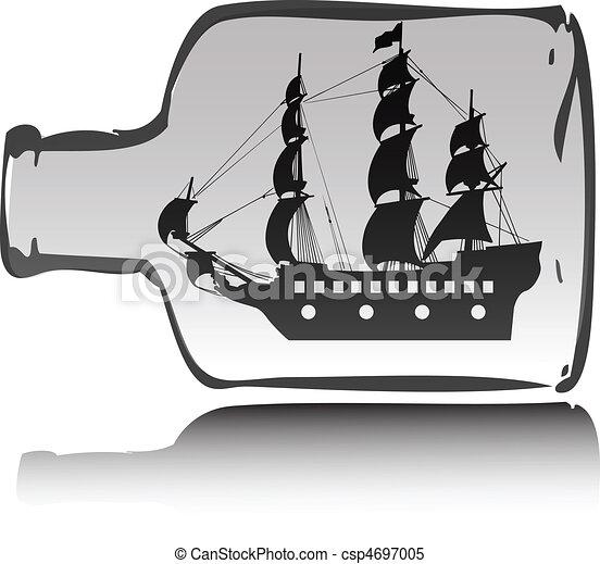 boat pirate in bottle illustration - stock illustration, royalty free ...