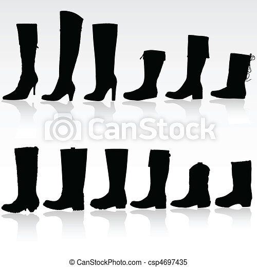 boots vector silhouette - csp4697435