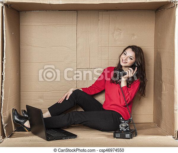 joyful woman in a call center - csp46974550