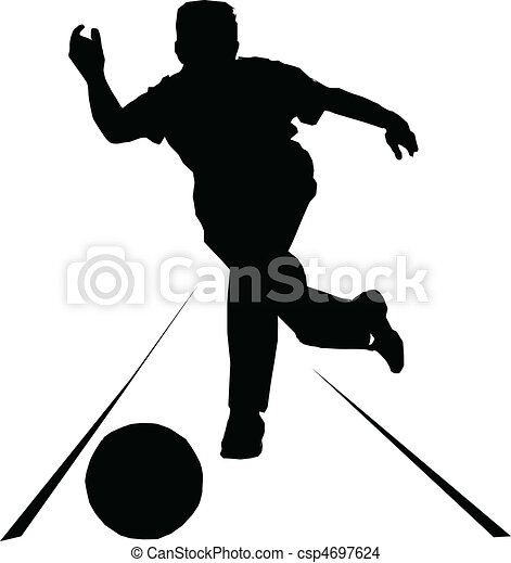 bowling sport vector silhouettes - csp4697624