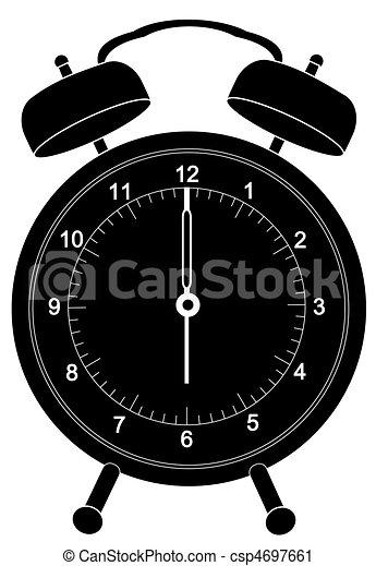 alarm clock silhouette set at six o\'clock  - csp4697661