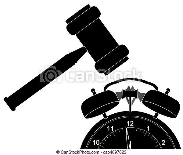 gavel smashing down alarm clock - csp4697823