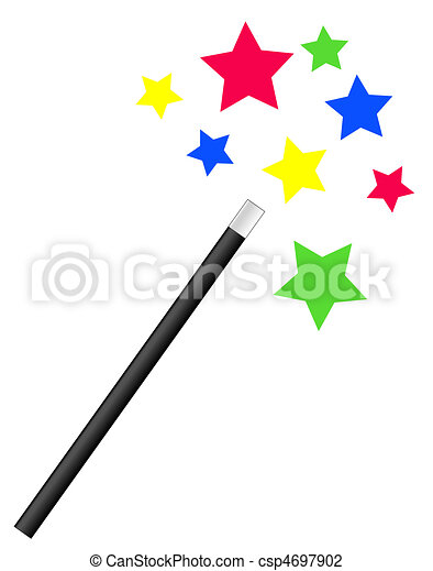 magic wand with bright stars  - csp4697902