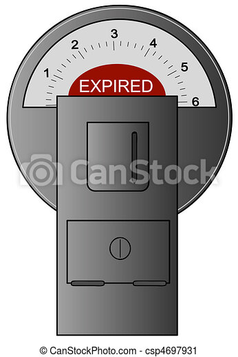 parking meter with red expired label - csp4697931