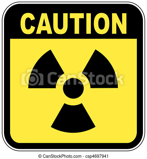 radio active logo on yellow caution sign - csp4697941