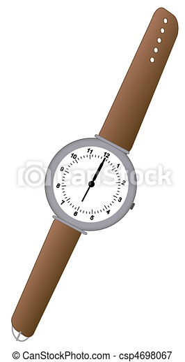 analog watch with brown leather band - csp4698067
