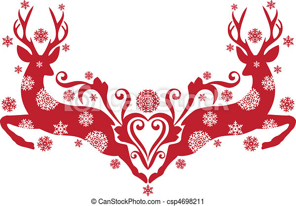 christmas deer, vector - csp4698211