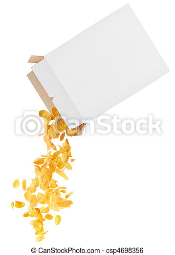 Corn-flakes strewed from box - csp4698356