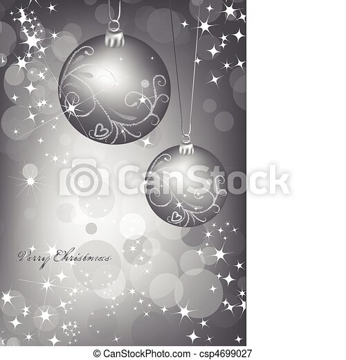 Christmas silver background with ball. Vector - csp4699027
