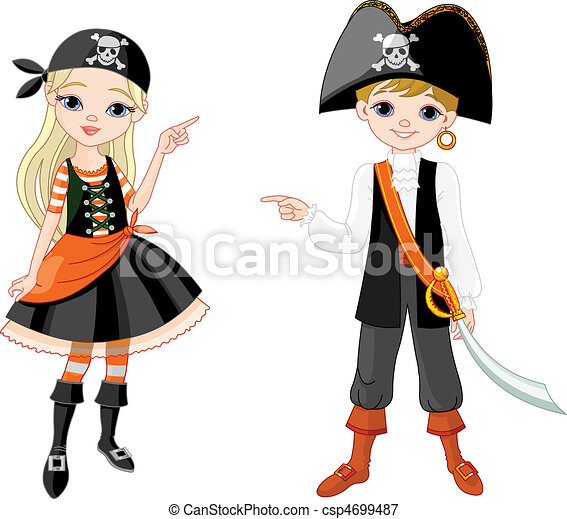 Halloween Pirate couple pointing - csp4699487