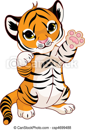Cute playful tiger cub - csp4699488
