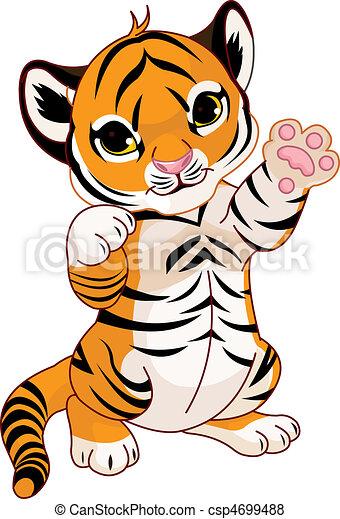 Cute playful tiger cub - csp4699488