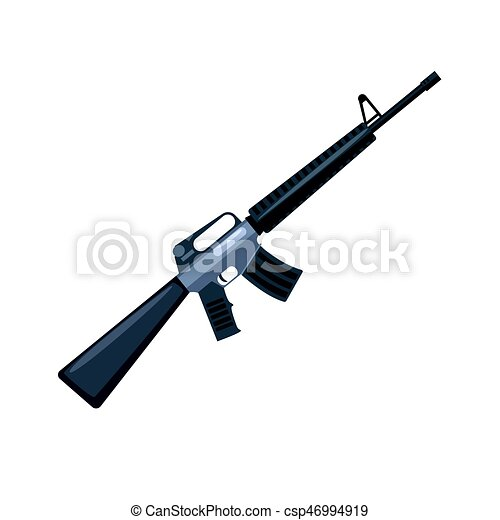 Automatic machine gun. Military weapon vector Illustration - csp46994919
