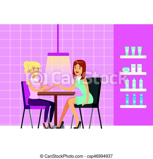 Girl doing manicure in beauty salon. Colorful cartoon character vector - csp46994937