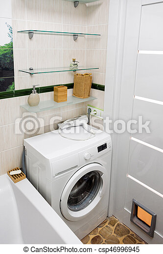 Stock Foto   Badezimmer, Brunnen, Modern, Organisiert, Space., Interior.,  Klein