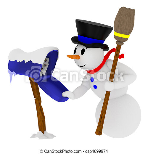 Smiling snowman with mailbox - csp4699974
