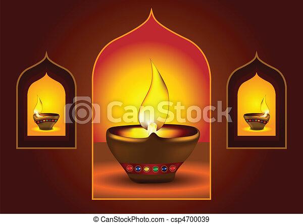Diwali diya on a window arch - csp4700039