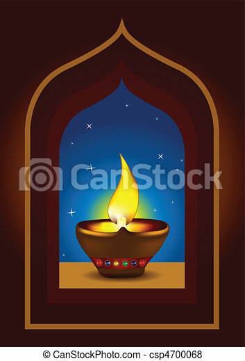 Diwali diya on a window arch - csp4700068