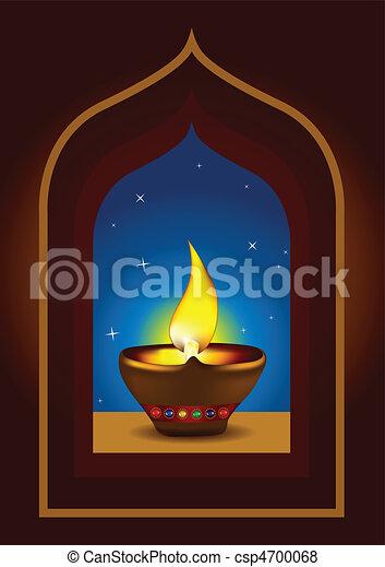 Diwali diya on a window arch - csp4700068